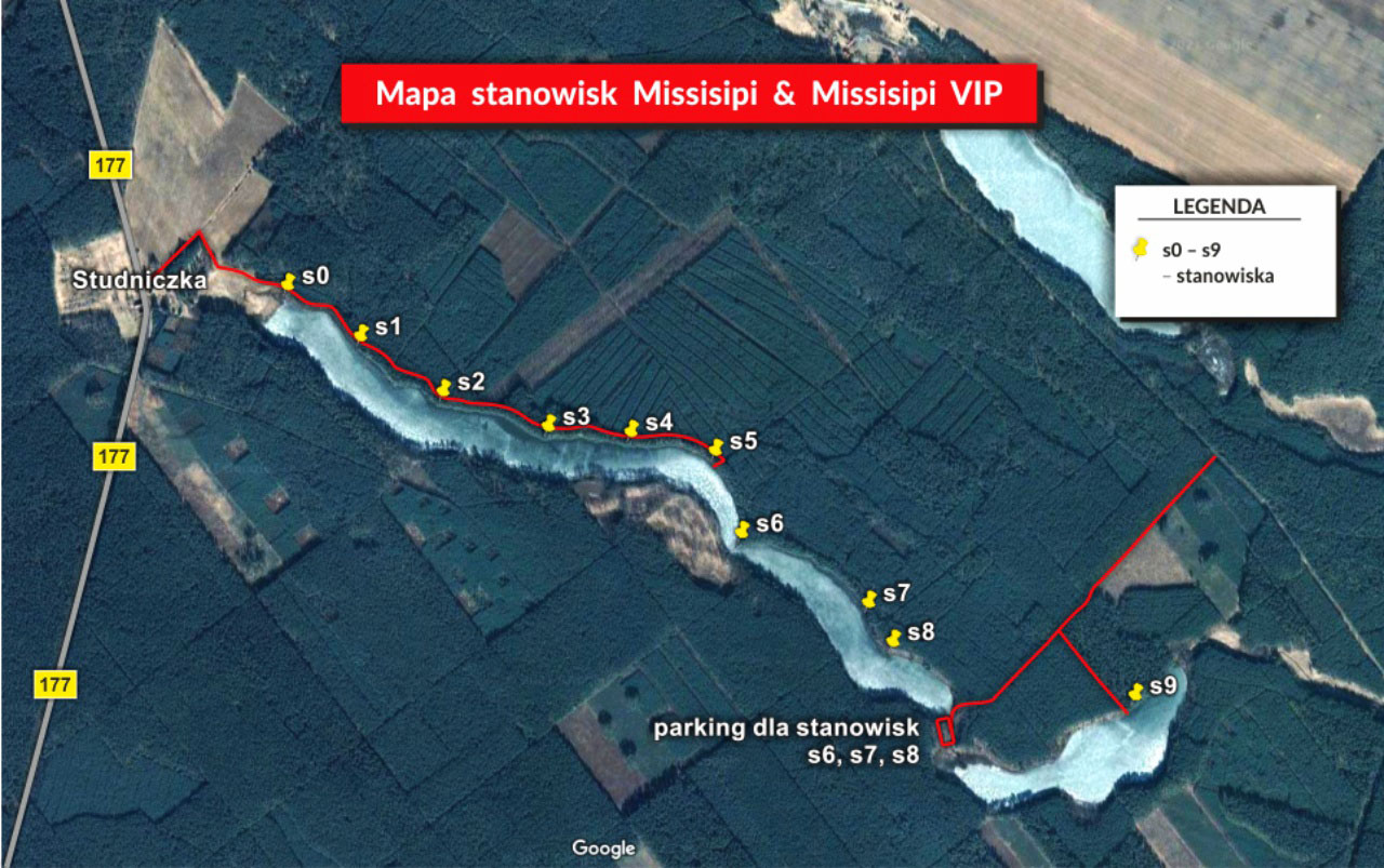 Mapa stanowisk wędkarskich Missisipi