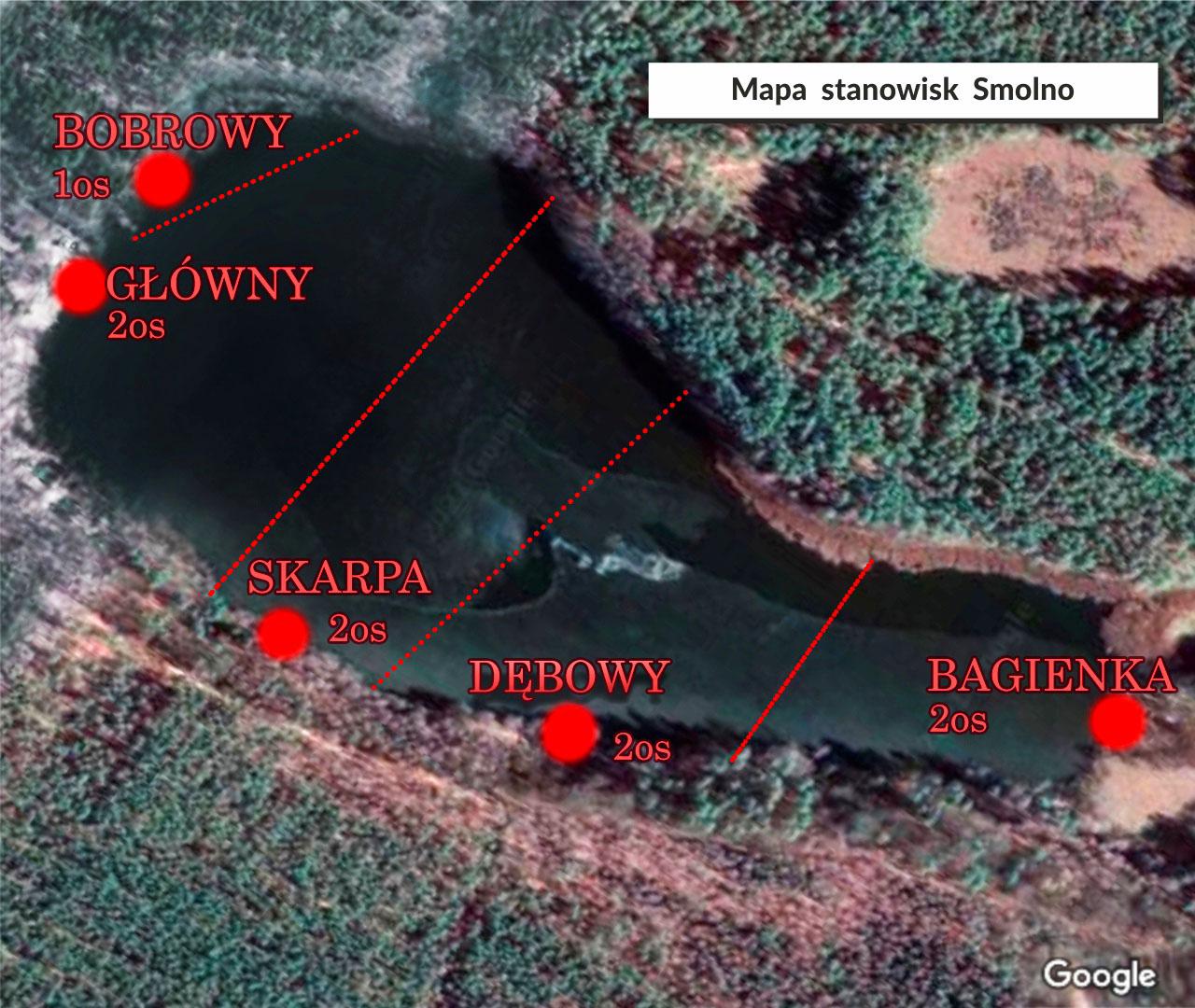 Mapa stanowisk wędkarskich Smolno