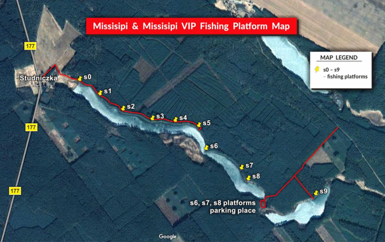 Mississipi fishing platform map